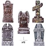 "JOYIN 17"" Halloween Foam RIP Graveyard Tombstones (5 Pack), Headstone Decorations and 12 Bonus Metal Stakes for Halloween Yard Decorations"