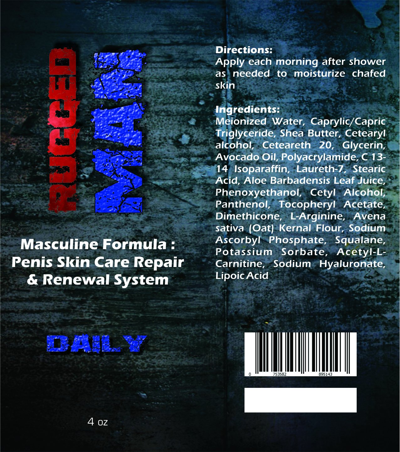 Amazon.com: RUGGED MAN: Penile Skin Care Repair & Renewal System.  Conditions and Regenerates. Relief from Red, Cracked, Skin Abrasion.
