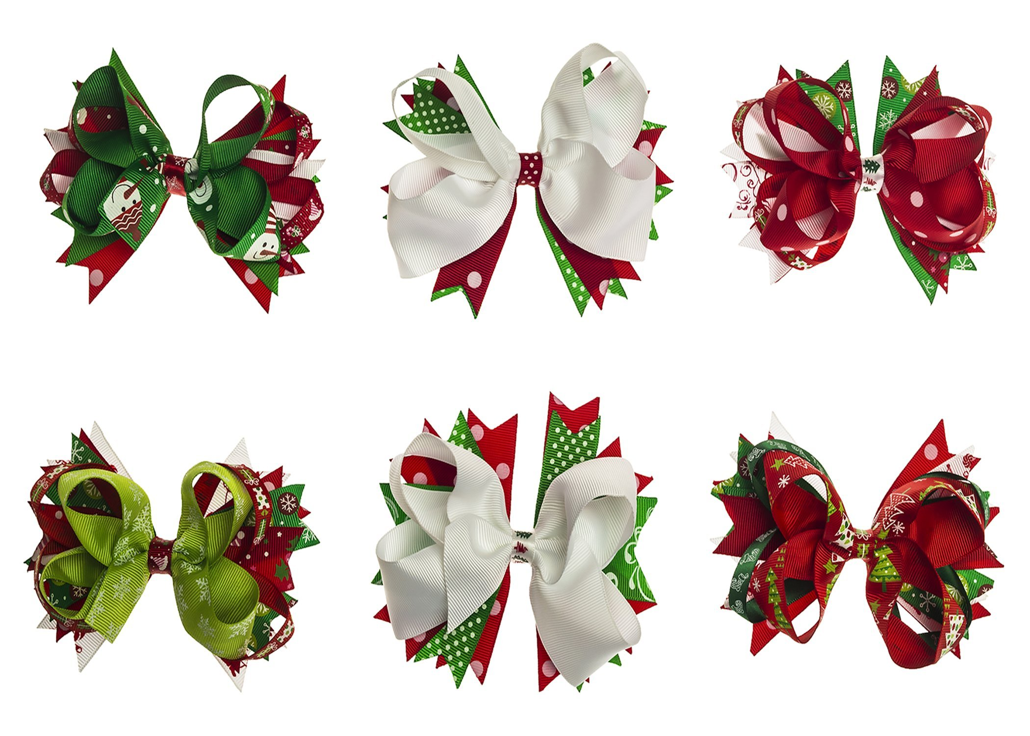 Hair Bows Clips For Christmas , Aieasyda 5 Inch Grosgrain Ribbon Hair Bows Clips For Baby Girl Kids Toddlers (6PC 5Inch-Christmas)