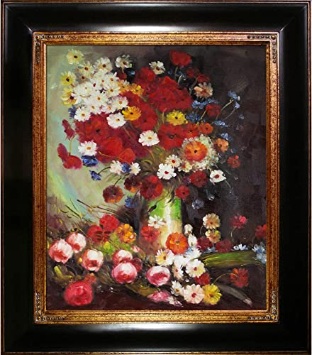 overstockArt Vase with Poppies Cornflowers Peonies and Chrysanthemums Framed Oil Reproduction of an Original Painting by Vincent Van Gogh