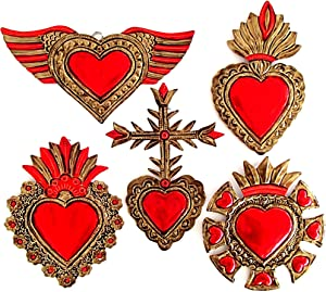 "Mexican Hearts Wall Decor 6"" Folk Art Sacred 5Pieces Hand Painted Metal Charms Gold/Red Tin Craft Embossed Ornaments Ex Voto Milagros Mexicanos -Handmade"