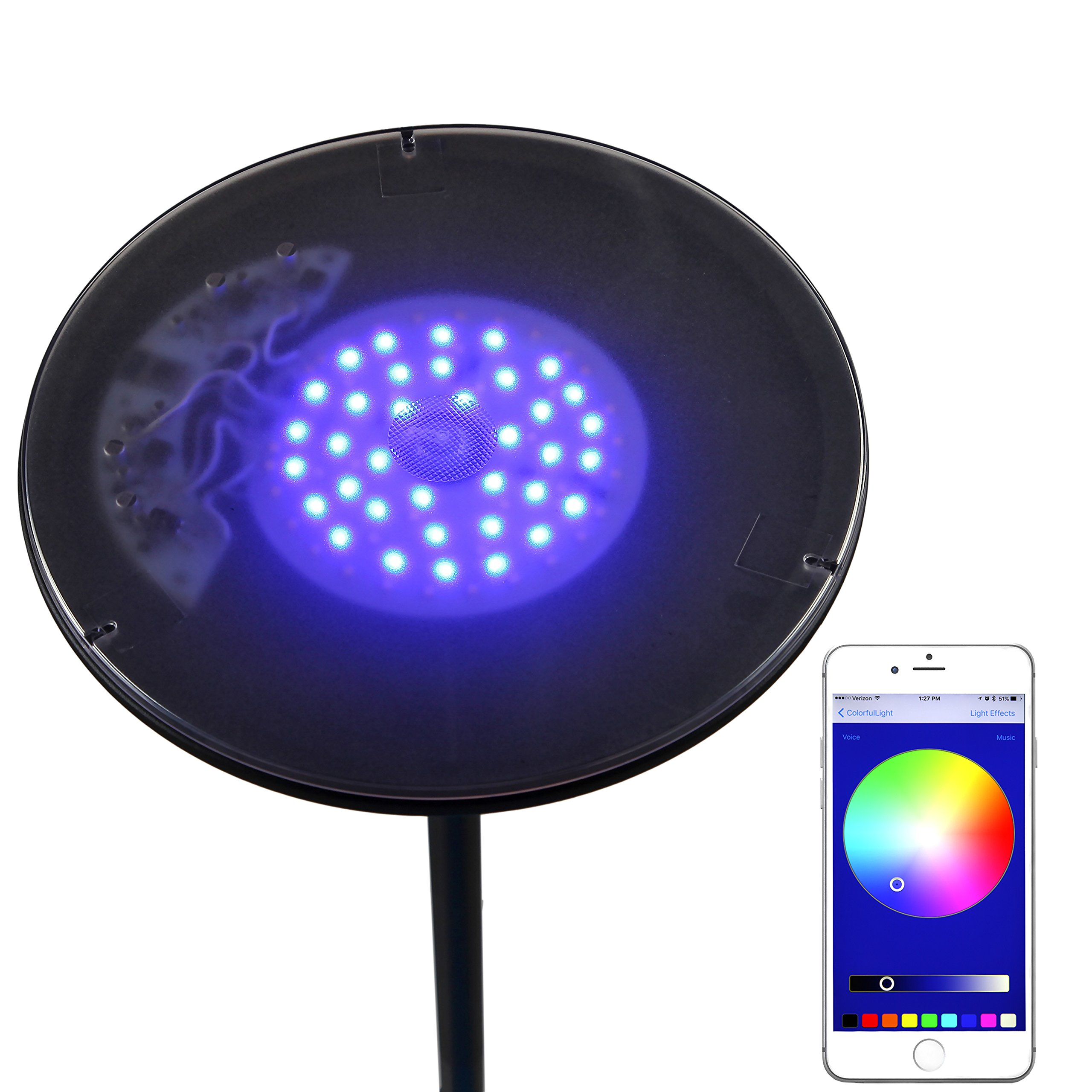 Brightech Kuler Sky Color Changing Torchiere LED Floor Lamp - Dimmable, iOs & Android App Remote Control Light - Lamp for Living Rooms, Game Rooms & Bedrooms - Adjustable Pivoting Head - Black by Brightech (Image #5)
