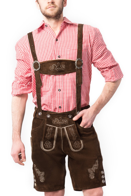 Tannhauser 0108-02-58 - pantalones de cuero de gamuza Ralf corto, de color marrón oscuro
