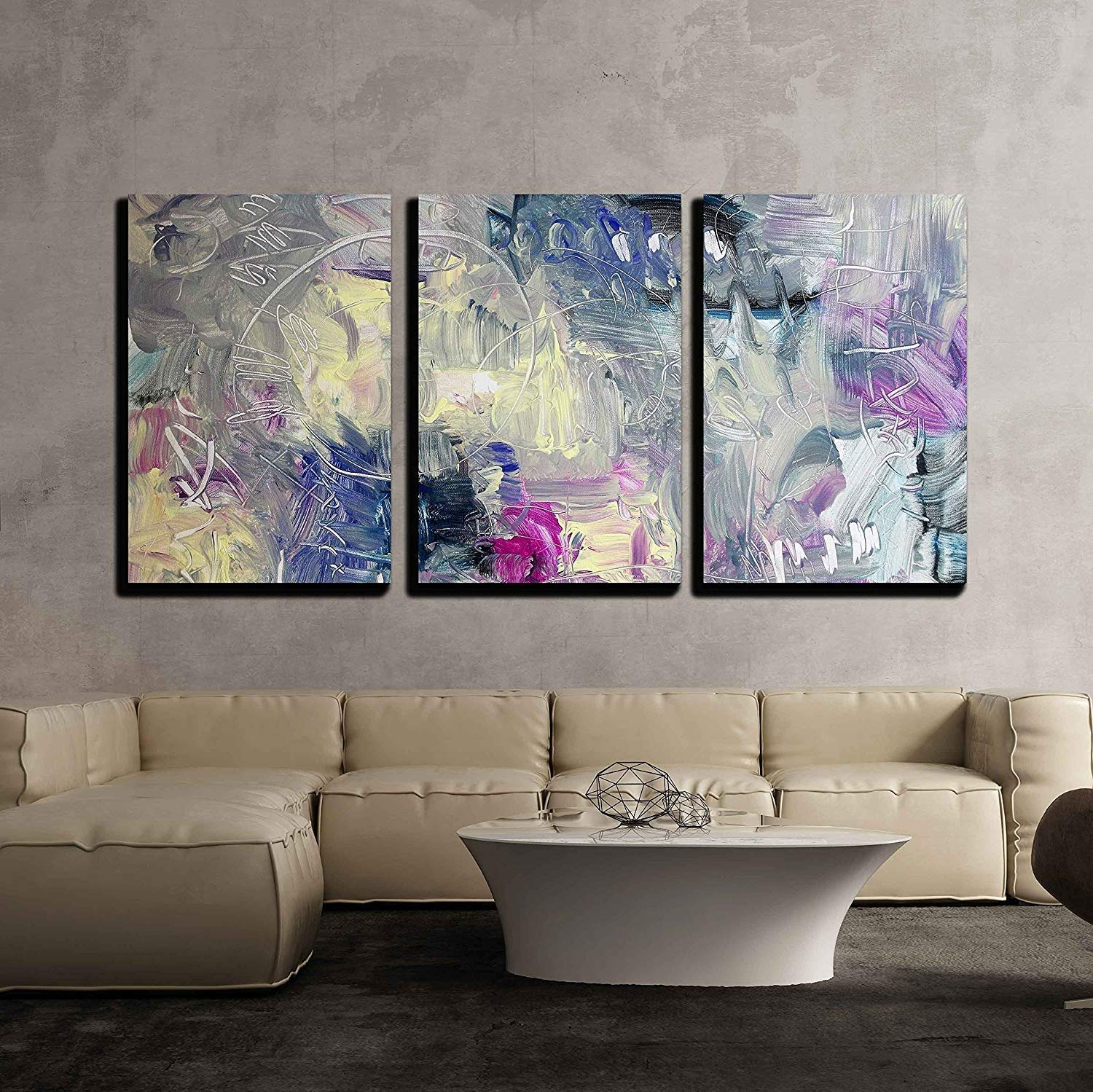 wall26 - 3 Piece Canvas Wall Art - Abstract Painting - Mixed Media Grunge - Modern Home Decor Stretched and Framed Ready to Hang - 24''x36''x3 Panels
