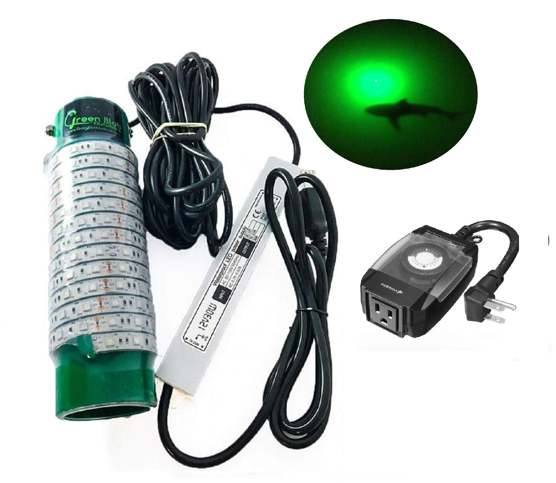 (Green, Blue, or White) Blob Underwater LED Night Fishing Light DOCK-7500 110volt AC (with Timer) 30ft Cord Fish Finding System, Bait rig, Fish Attractor, Ponds, Snook (Green with Timer)