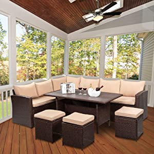 VINGLI 8 Pieces Patio Furniture Set, All Weather Wicker Patio Sectional Furniture Set Rattan Sofa Couch, Outdoor Dining Table and Chair Wicker Conversation Set