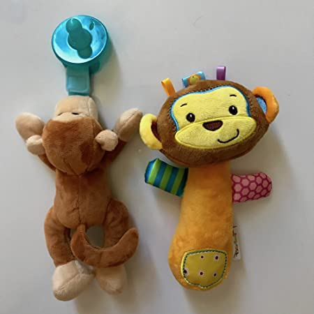Amazon.com : Pacifier Holder Stuffed Animal (Monkey), Soft Plush with Silicone Baby Dummy, and 1 Stuffed Animal (Monkey) Soft Plus Hand Rattle Squeaker for ...