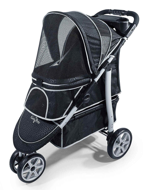 Gen7Pets Monaco Pet Stroller for Dogs or Cats, Black Geometric