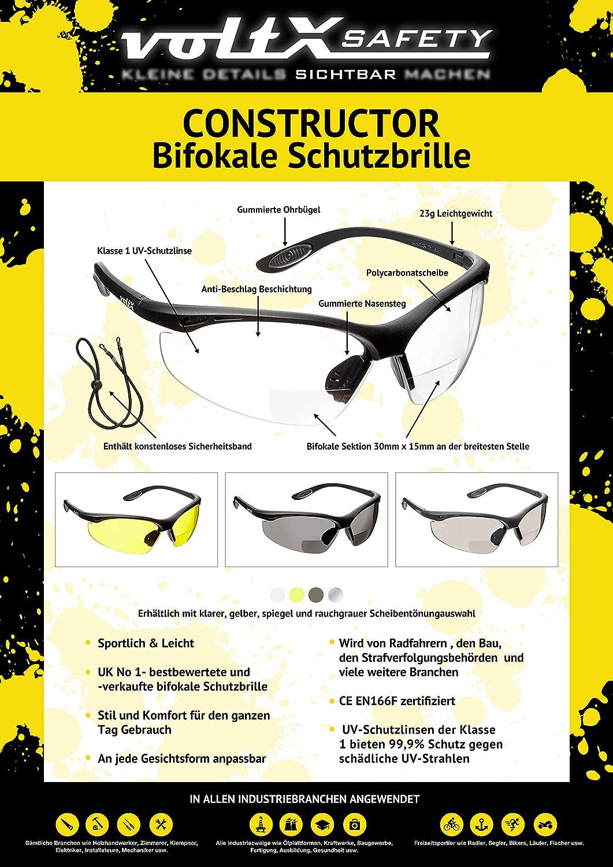 CE EN166F Zertifiziert//Sportbrille f/ür Radler enth/ält Sicherheitsband 3 x voltX Constructor BIFOKALE Schutzbrille mit Lesehilfe Bifocal Safety Glasses KLAR +3.0 Dioptrie Anti-Fog UV400 Linse