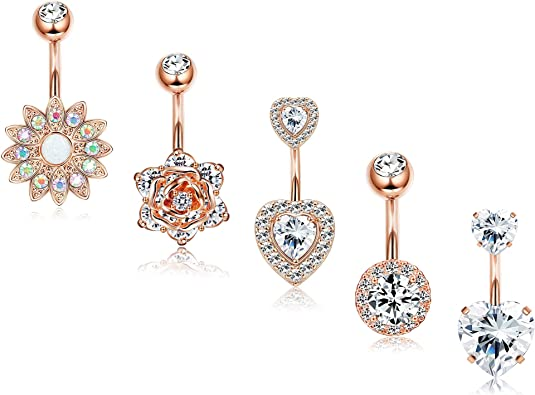 Navel Ring Round CZ Gold Plated Surgical Steel Belly Bar