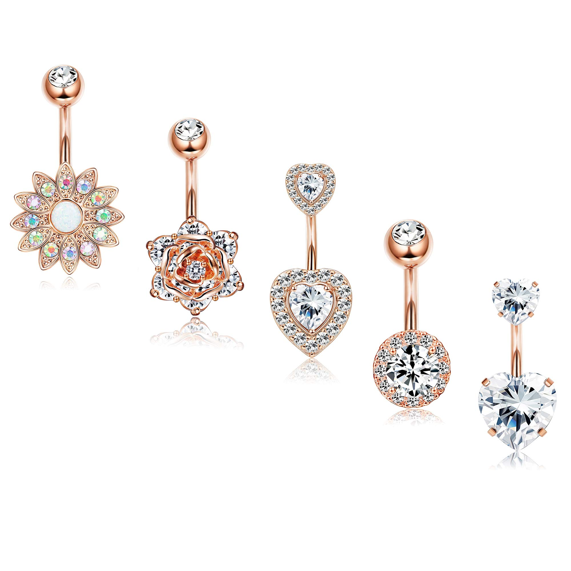 Finrezio 5Pcs 14G Belly Button Rings Surgical Steel Sunflower Flower Rose Heart CZ Navel Ring Set Rose Gold Plated Belly Piercings Body Jewelry by Finrezio