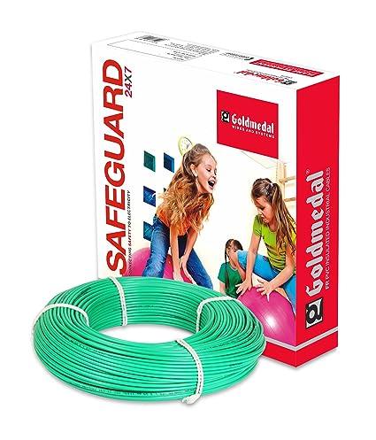 Goldmedal 1.5Sq mm Flame Retardant PVC Insulated Fire Retardant Wire (Green)