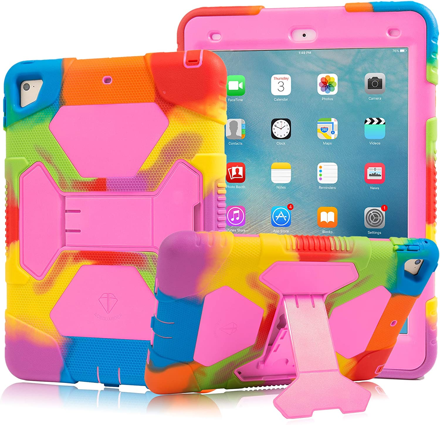 New iPad 9.7 2018/2017 Case, KIDSPR Lightweight Shockproof Rugged Cover with Stand Protective Full Body Rugged for Kids for New iPad 9.7 inch 2018/2017 (6th Gen, 5th Gen) (Rainbow/Pink)