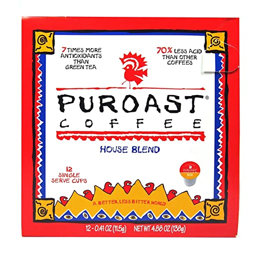 Puroast Low Acid Coffee House Blend Single Serve Coffee, Keurig Compatible