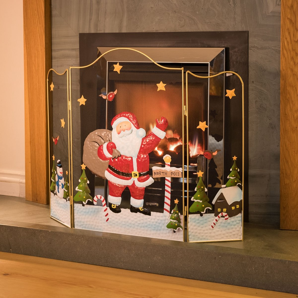 Christow 3 Panel Father Christmas Fireguard Santa Claus Fireplace 61cm