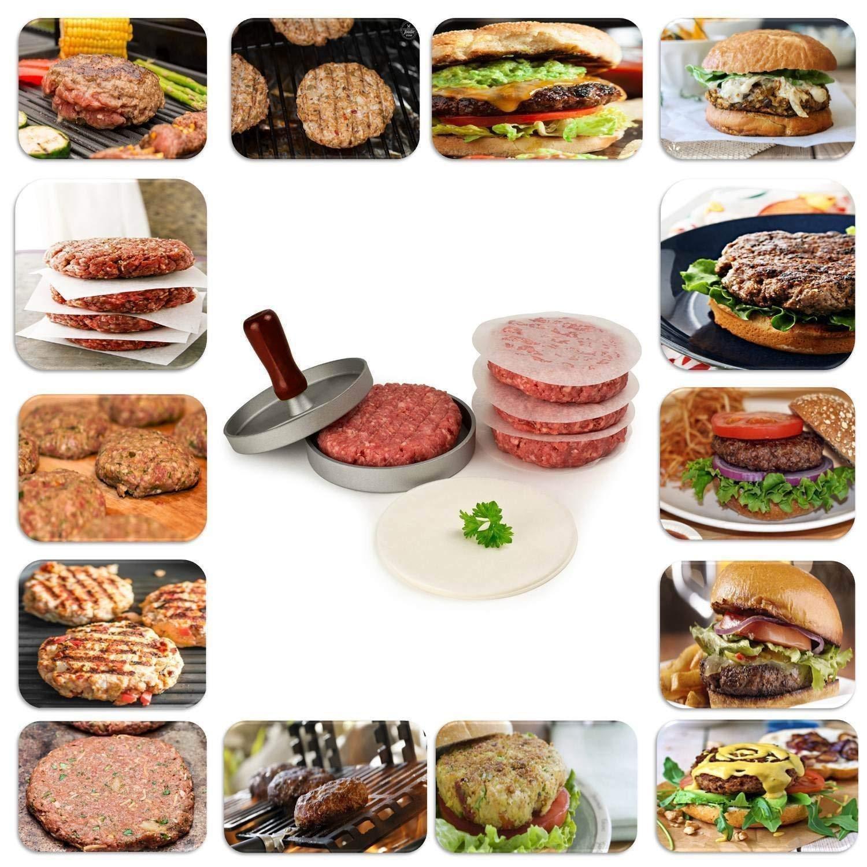 per grigliate e barbecue Argento stampo antiaderente per hamburger Allezola pressa per hamburger hamburger succosi ideali per barbecue