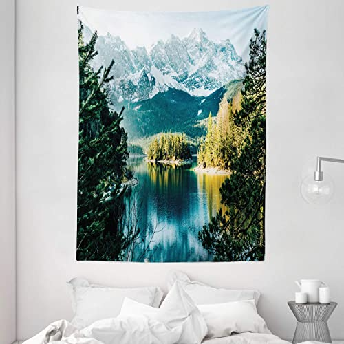 Ambesonne Landscape Tapestry, Mountain Lake in Northern Germany with Frozen Peaks Water in Winter Season Life, Wall Hanging for Bedroom Living Room Dorm, 60 X 80 , Green White