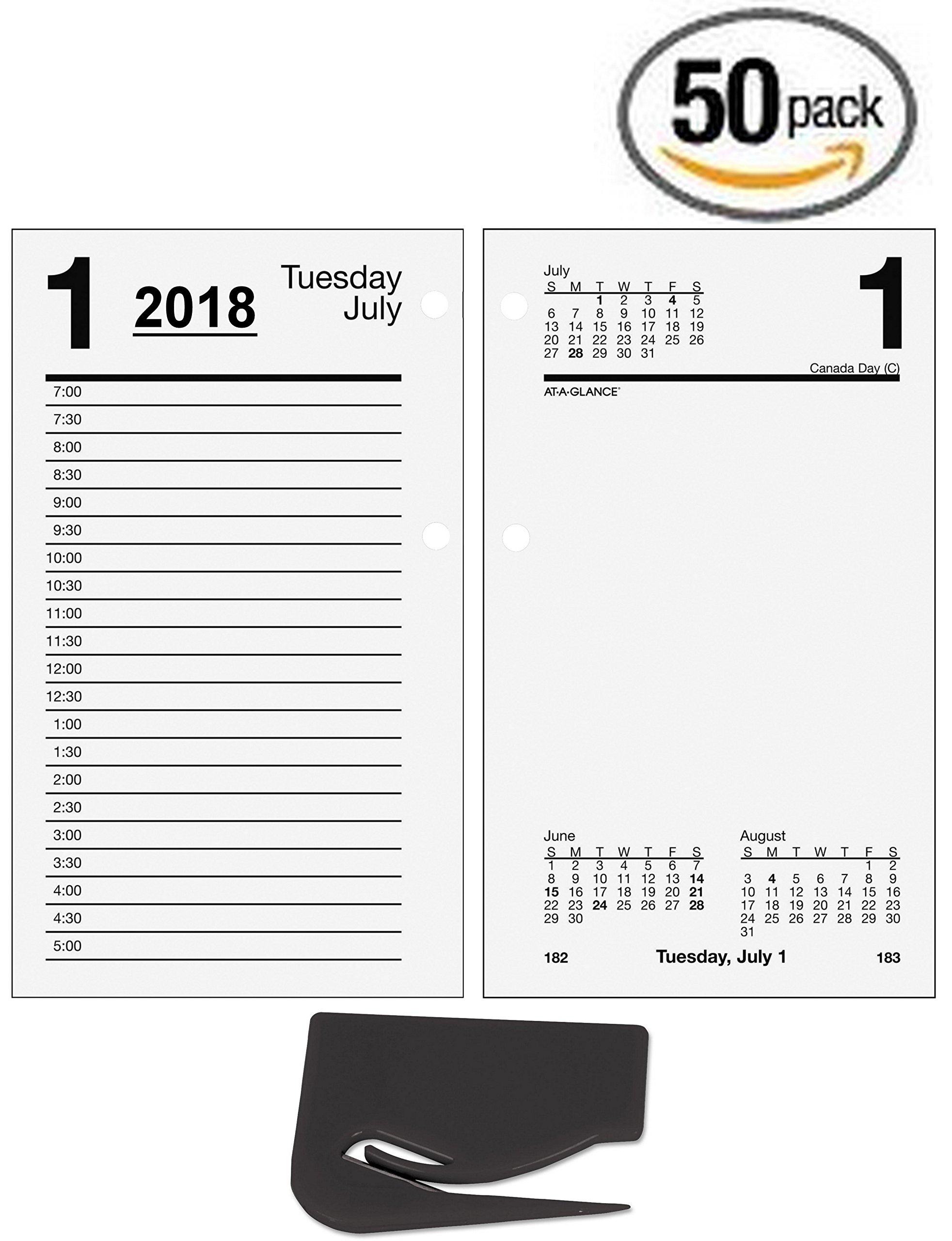 50 Pack Bundle AT-A-GLANCE Daily Desk Calendar Refill, January 2018 - December 2018, 3-1/2'' x 6'', Loose Leaf (E71750) plus a Bonus Letter Opener (50)