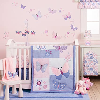 amazon com 3 piece pink purple blue butterfly baby girls crib