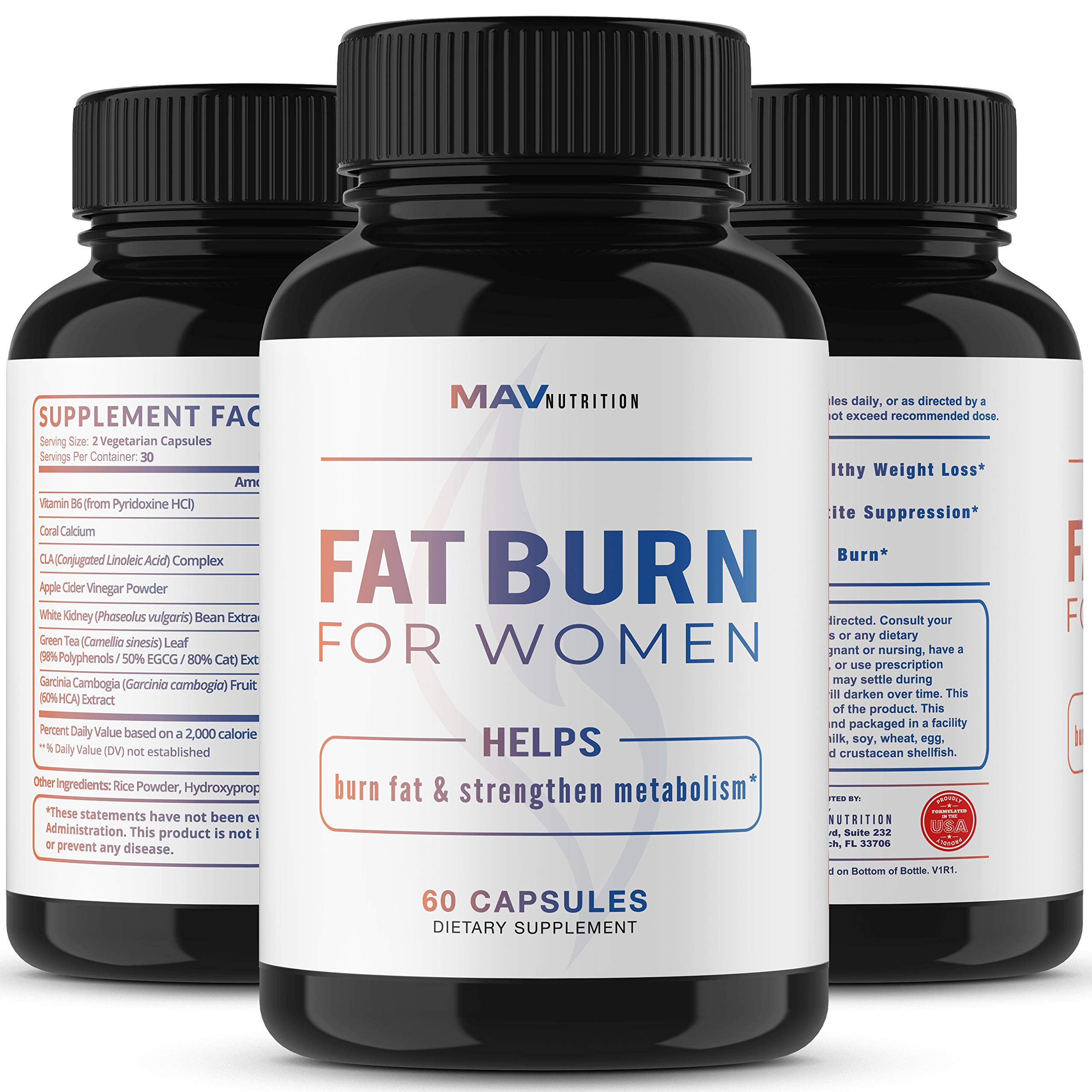Womens Fat Burner Weight Loss Pills Designed for Increasing Healthy Metabolism, Supporting Energy Levels, Fat Loss, and Increasing Tone; Non-GMO, Gelatin-Free; 60 Vegetarian Capsules for Women by MAV Nutriton (Image #4)