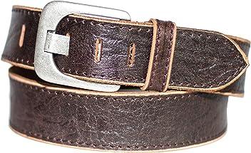 Eg-Fashion Herren Gürtel 5 cm Breite Jeansgürtel aus 100% Büffel-Vollleder - Gürtel mit Steppnaht am Rand