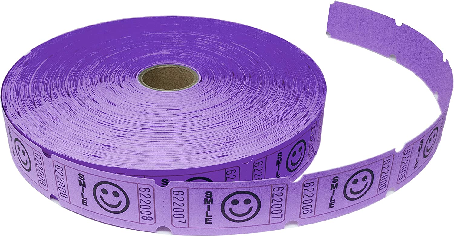 Tacticai 2000 Purple Raffle Tickets (8 Colors Available) for Events, Entry, Class Reward, Admittance, or Fundraising, Tear Away Tickets, Brightly Colored Paper (Single Roll - Smile) - Made in USA