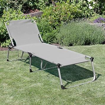 Adelaid Aluminium Longue Chaise En Armature Avec Gris Wohaga Pliante AcLq4R35j