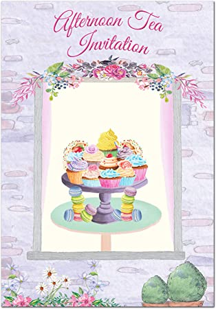 Prime Cheap Packs Afternoon Tea Party Invitations Pack Of 24 Cards Personalised Birthday Cards Beptaeletsinfo