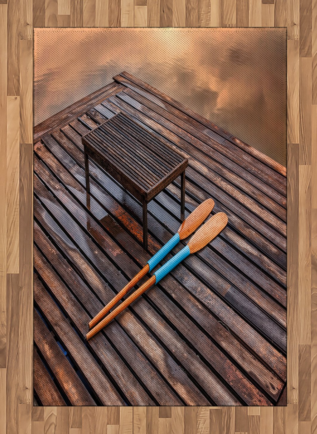 Amazon.com: Lunarable Oar Area Rug, Paddles on Old Wooden Pier Board by The Lake Mystic Summer Background Vacation Image, Flat Woven Accent Rug for Living ...