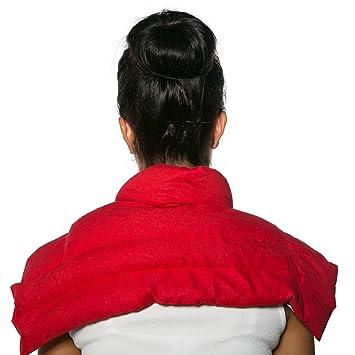 Kirschkernkissen Schulter & Nackenkissen mit Kragen   Bio-Stoff rot   Gute Wärme für den Nacken   Eine Alternative zum Nacken
