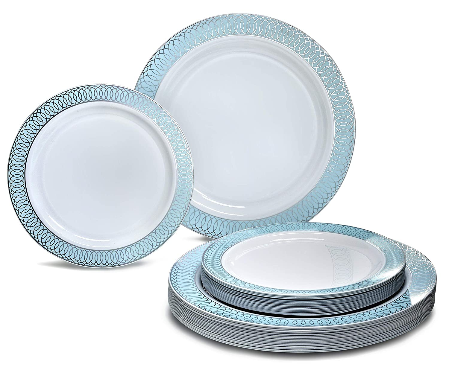 H.venice bluee & Silver 50 Piece (25 Guest) OCCASIONS 720 PCS   120 GUEST Wedding Disposable Plastic Plate and Silverware Combo Set (Diamond White Silver Plates, Silver Silverware)