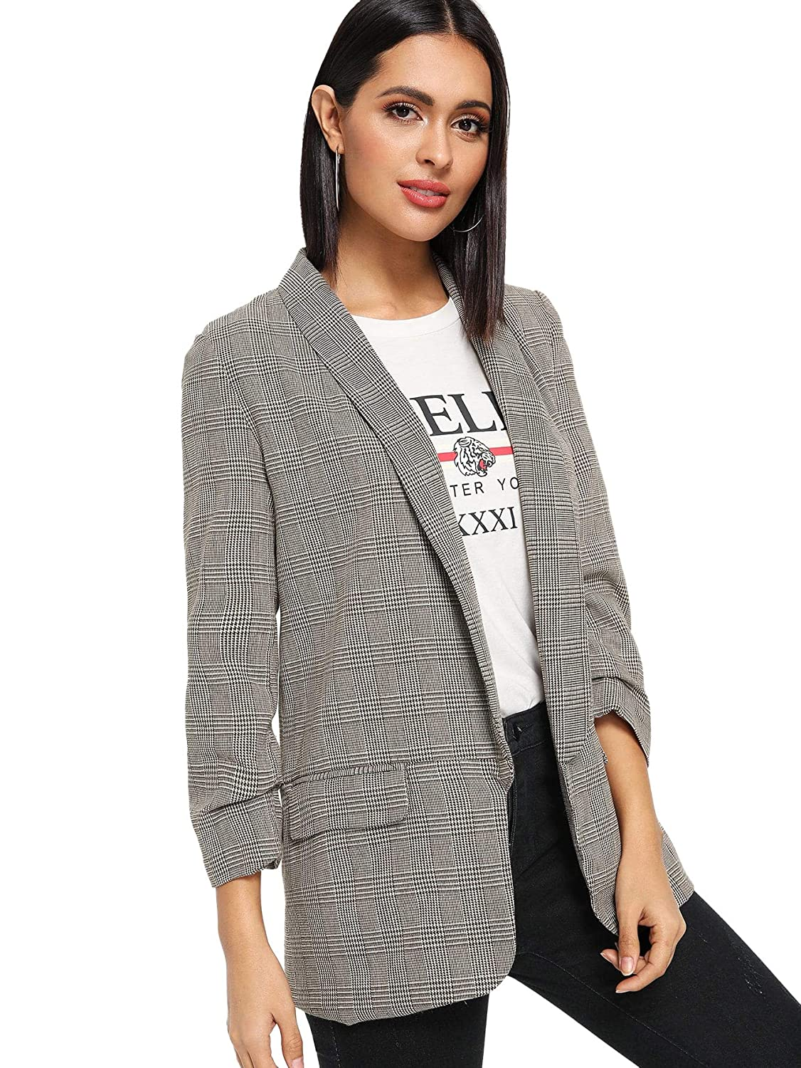 2880582f3bab Amazon.com: SheIn Women's Office Shawl Collar Ruched Sleeve Plaid Blazer  Outerwear: Clothing