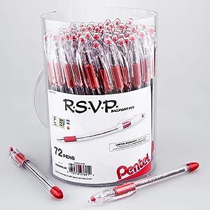 Pentel RSVP Ballpoint Pen, (0.7mm) Fine Line, Red Ink, 72pk Canister (BK90PC72B)