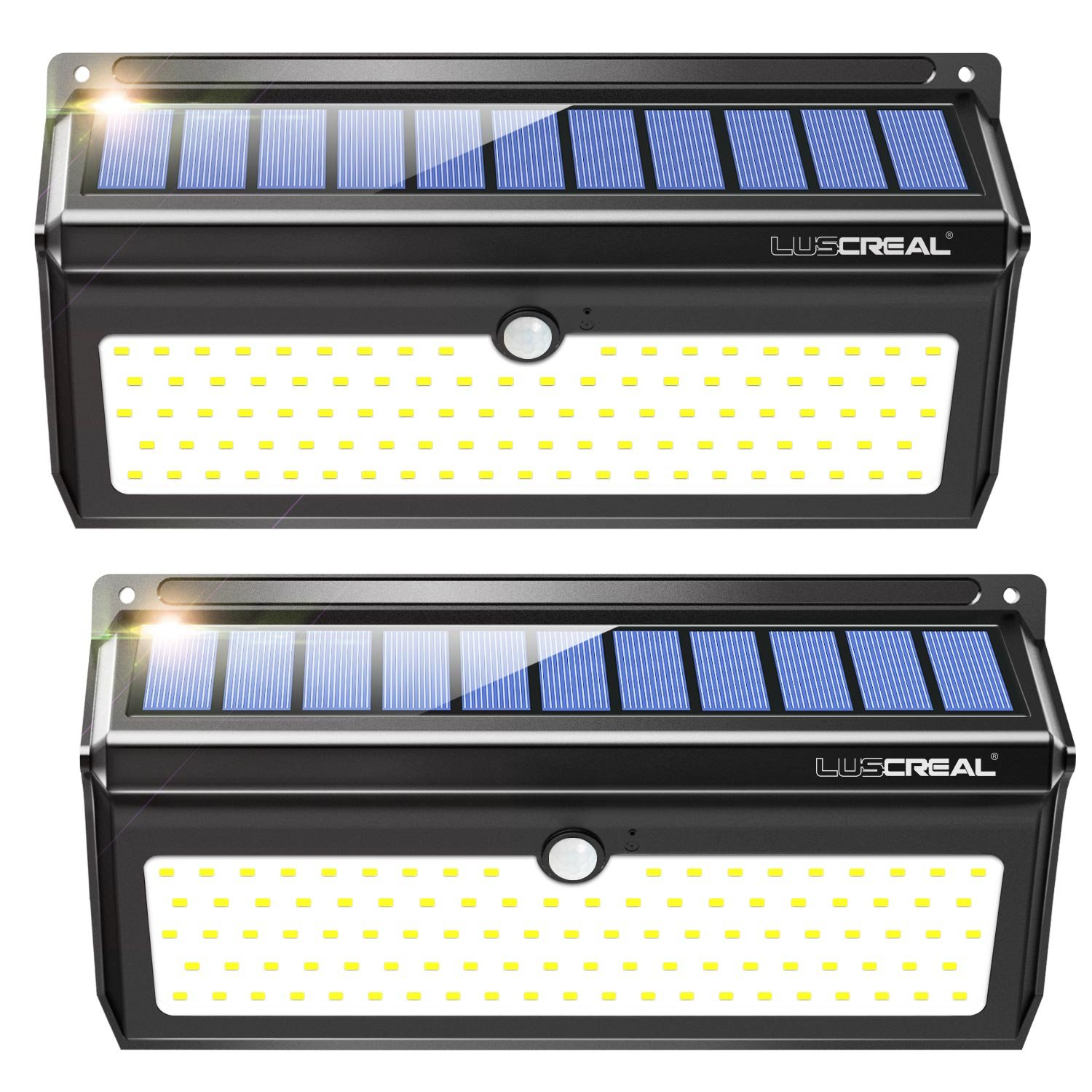 Solar lights Outdoor Luscreal Super Bright 100 LED Solar Motion Sensor Security Wall Lights for Front Door Back Yard Garage Deck Porch Step Stair Garden Fence Driveaway Patio 2000LM 2PACK