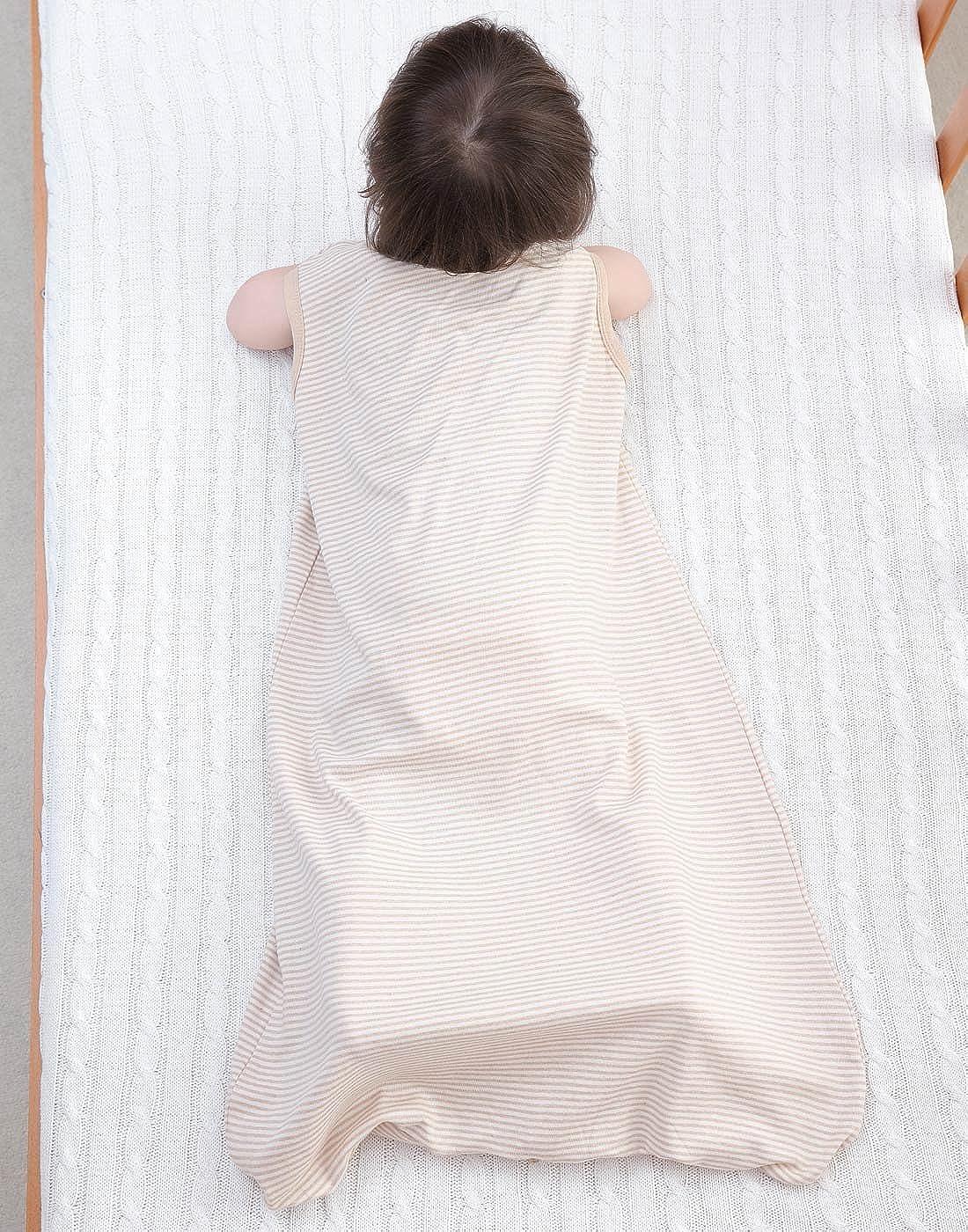 Saco de Dormir para Beb/és de Verano sin Mangas de Algod/ón Bolsa de Dormir para Ni/ños con Tres Aberturas Transpirable Slepping Bag beb/é Marr/ón 5-36 Meses Happy Cherry
