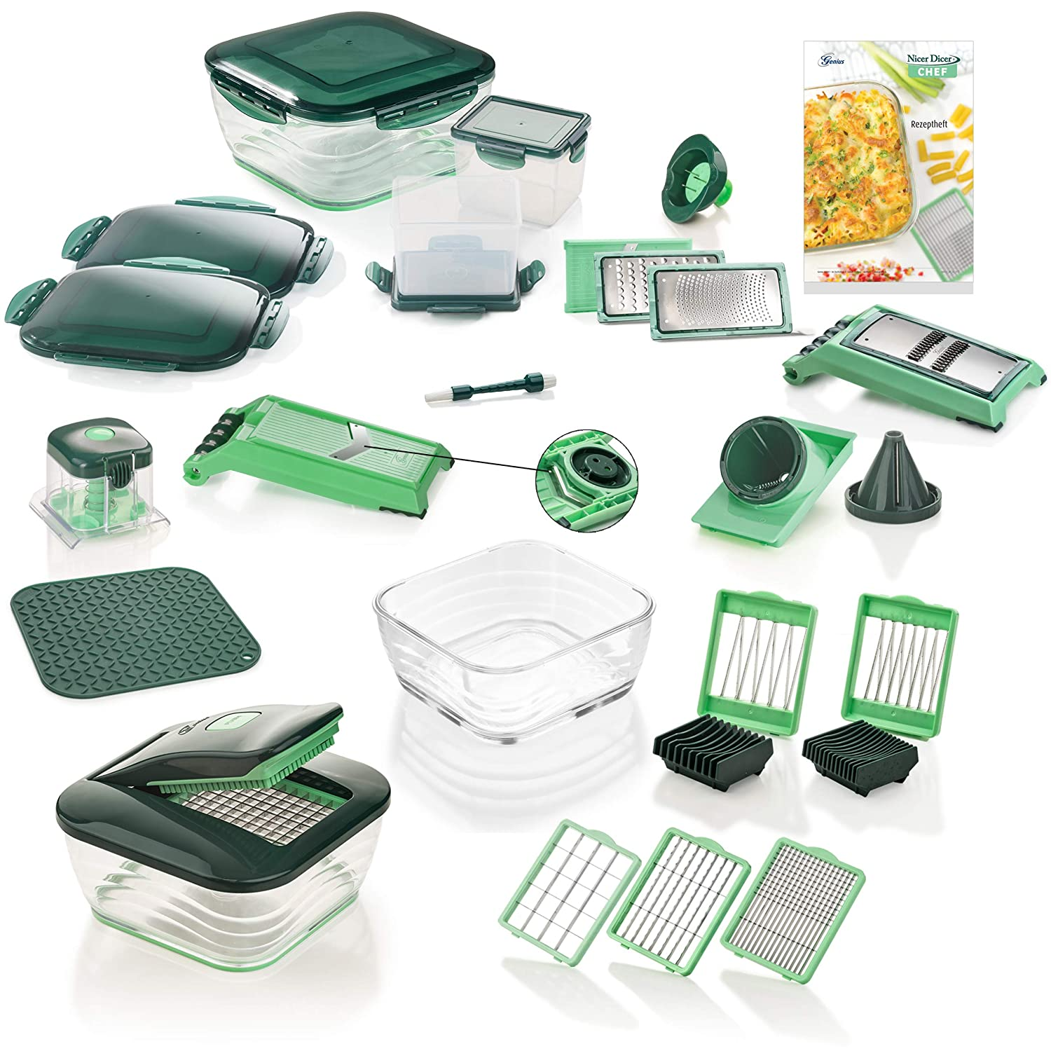 Genius Nicer Dicer Chef | Deluxe Set | 34 Pieces | Fruit and Vegetable Chopper | as seen on TV