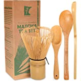 BambooMN Matcha Whisk Set - Golden Chasen (Tea Whisk) + Chashaku (Hooked Bamboo Scoop) + Tea Spoon - 1 Set - Premium…
