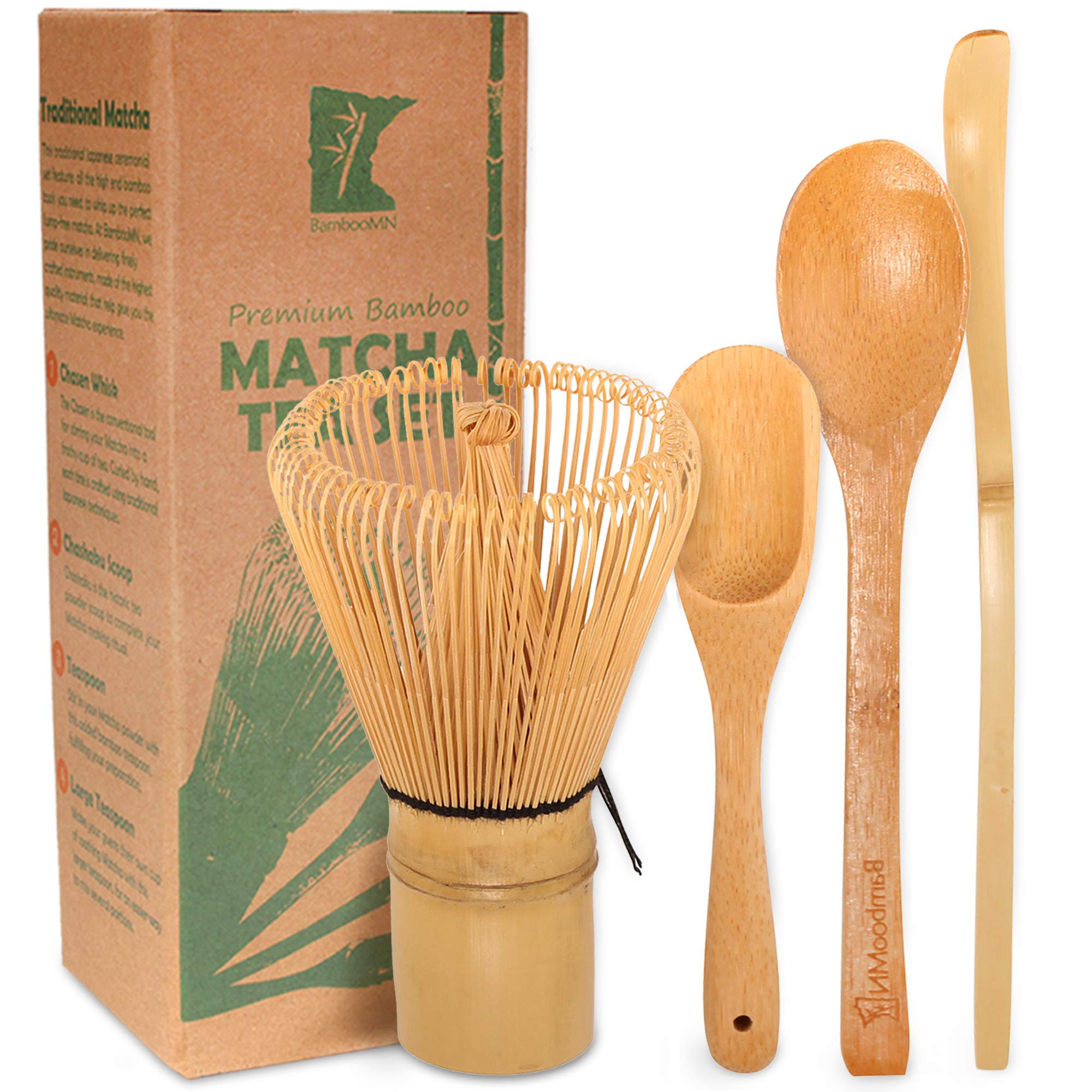 BambooMN Matcha Whisk Set - Golden Chasen (Tea Whisk) + Chashaku (Hooked Bamboo Scoop) + Tea Spoon - 1 Set - Premium Matcha Set to Prepare a Traditional Cup of Matcha