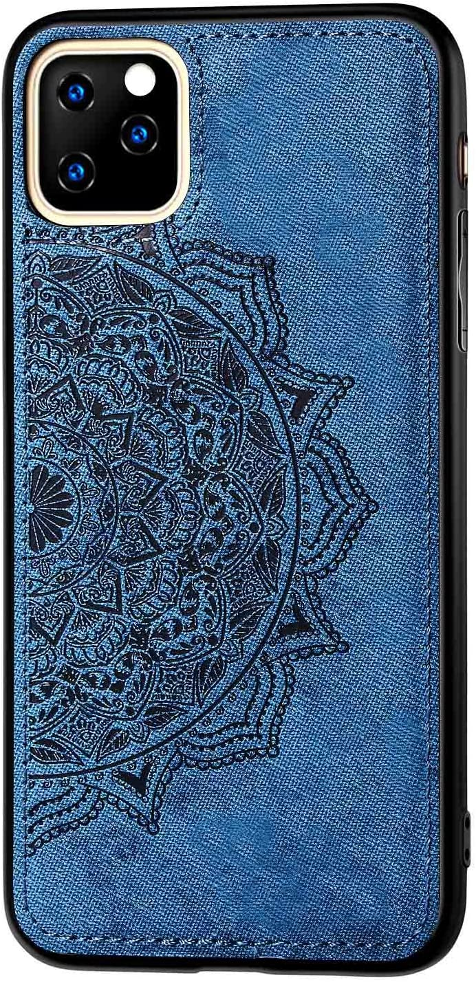 Flower Case Compatible with Apple iPhone 11 6.1 inch Display Case,Fit Magnetic Car Mount,3D Cloth Embossed with Floral Flowers Pattern Design Slim Shockof Cover Skin-Blue