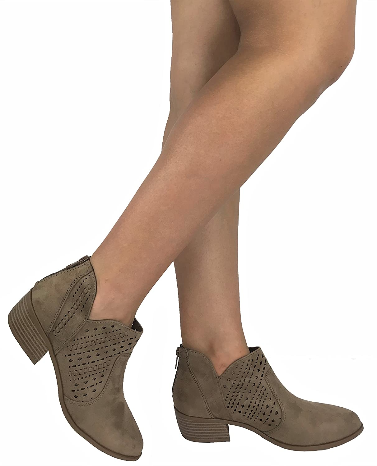 Taupe Cityclassified Womens Ankle Bootie Perforated Side V Cut Low Chunky Stacked Heel 6.5