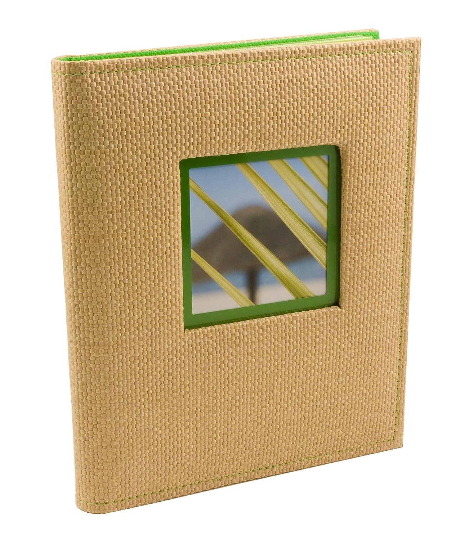BorderTrends Beach 80-Pocket Rattan Cover Photo Album, Green BORDER TRENDS