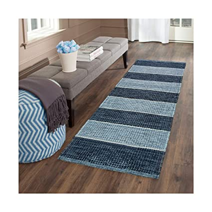 ARFA HOME FURNISHING Polyester Blend Soft Indoor Modern Shag Area Rug Carpet for Dining Room/Home Bedroom (50X130 cm,Blue)