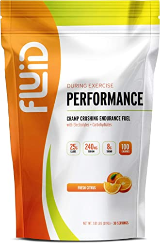 Fluid Performance – Low Sugar Endurance Fuel Sports Drink Mix with Electrolytes, All Natural Ingredients, Gluten-Free for Before or During Exercise