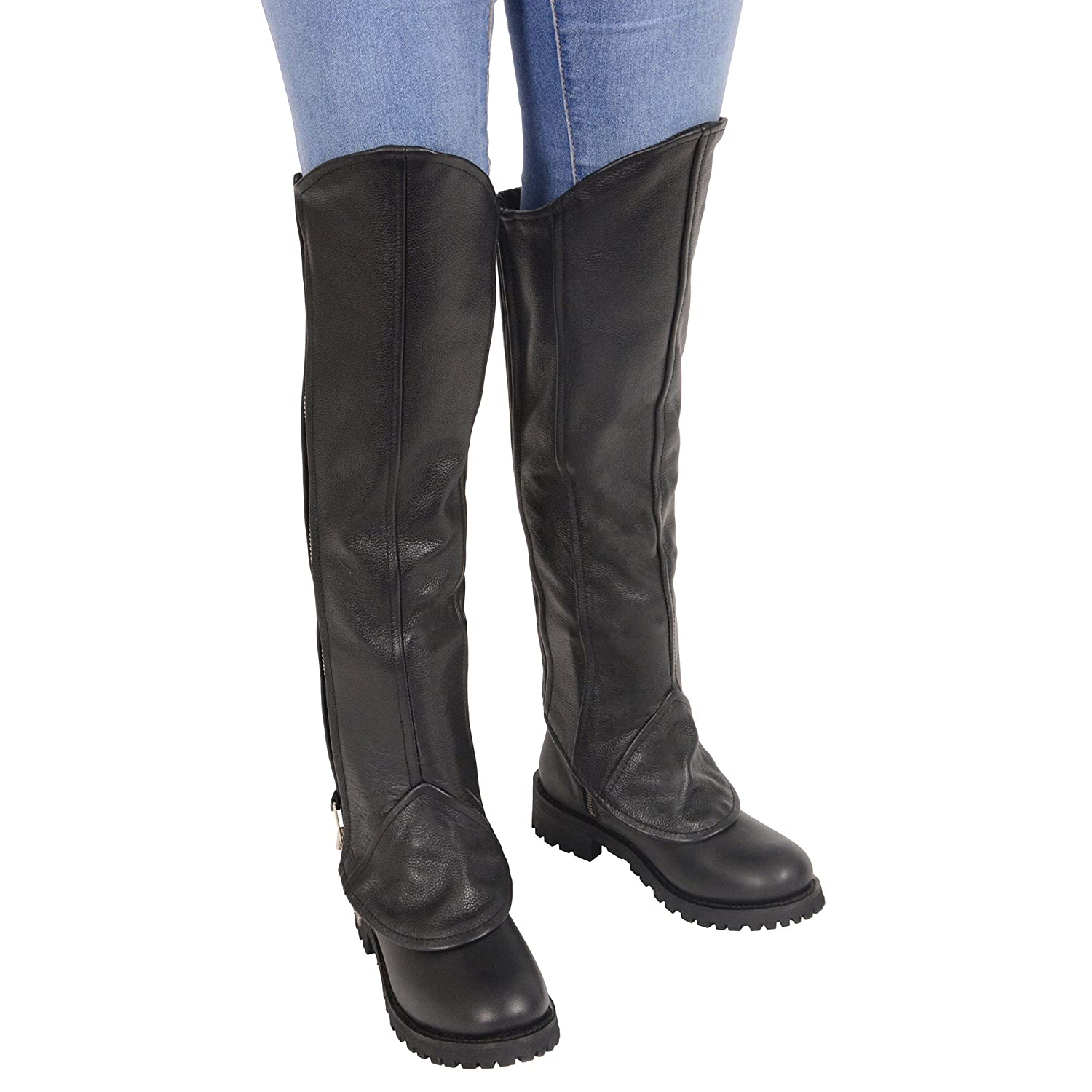 Milwaukee Leather Womens Knee High Half Chap with Zipper Entry 1 Pack Black, Large//X-Large