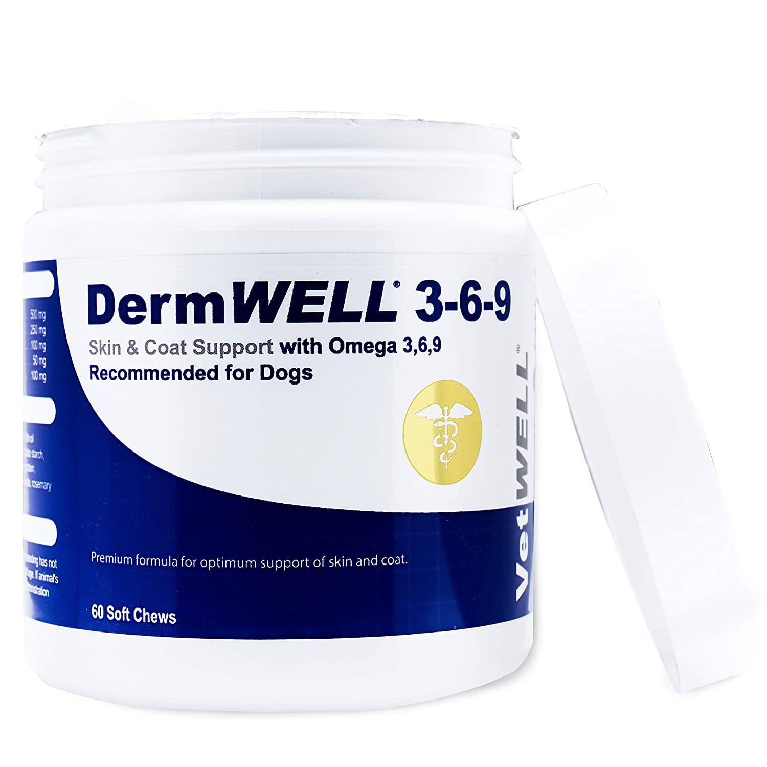 VetWELL Omega 3 6 9 for Dogs - Dry Skin Treatment for Dogs, Helps Relieve Itching Skin, Allergy Symptoms and Improves Coat - DermWELL Omega 3-6-9 Fish Oil Soft Chews - 60 Count
