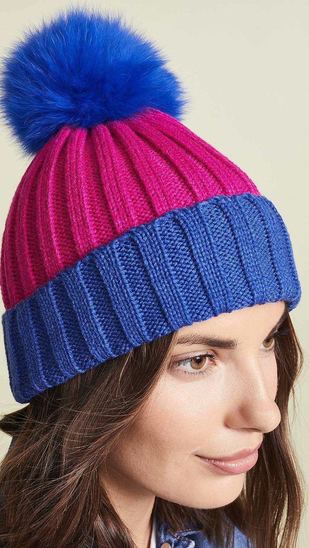 8c0fbd44309f1 Amazon.com  Adrienne Landau Women s Ribbed Two Tone Hat with Fur Pom ...