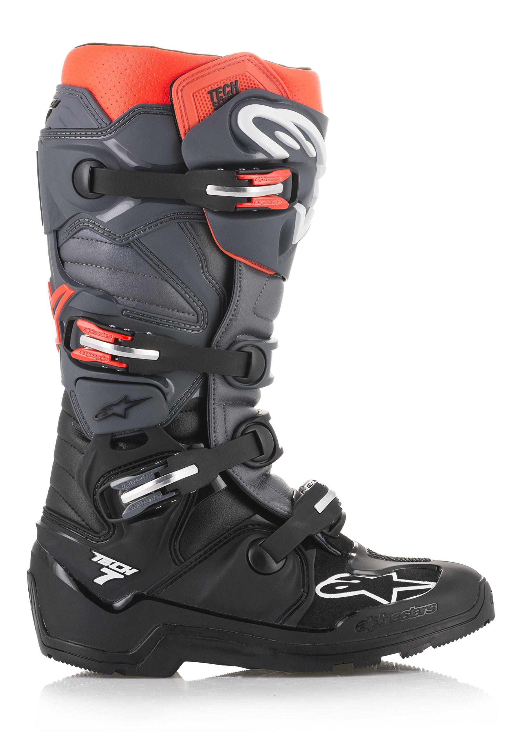 Tech 7 Enduro Off-Road Motocross Boot (13 US, Black Gray Red Fluo) by Alpinestars