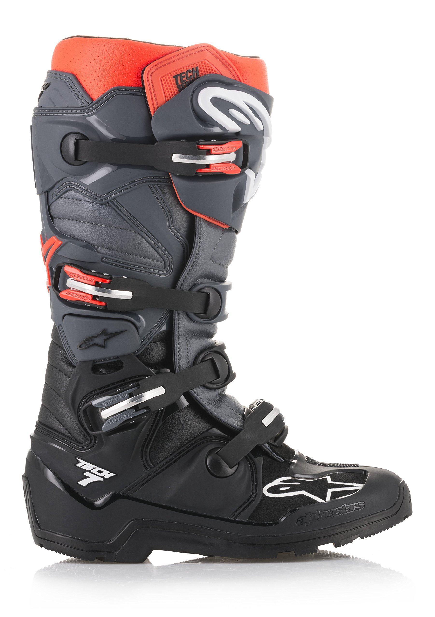 Tech 7 Enduro Off-Road Motocross Boot (13 US, Black Gray Red Fluo)