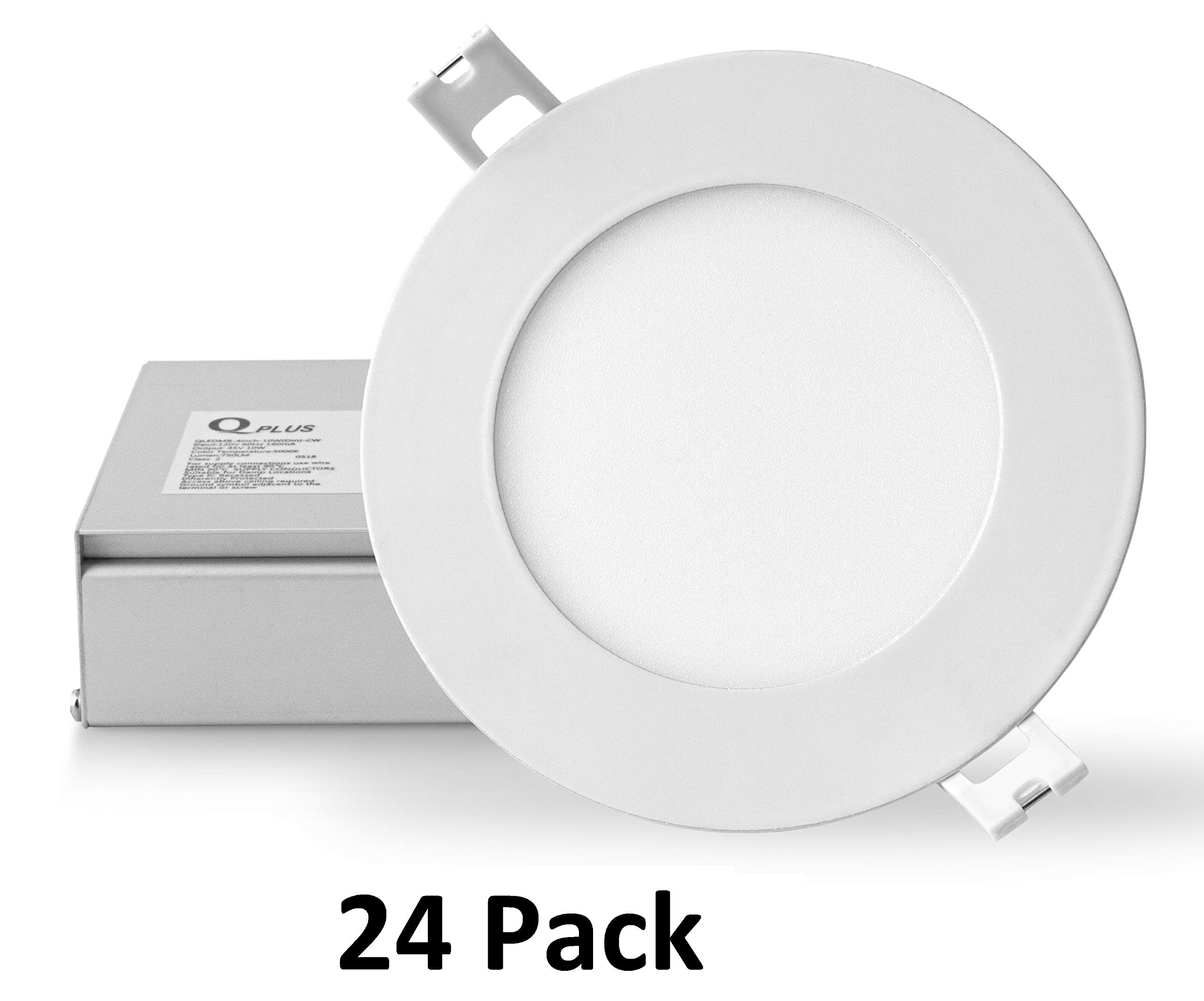 QPLUS 4 Inch 10W LED Recessed Lighting (5000K Daylight, 24 Pack), Ultra Thin Slim Wafer Low Profile Ceiling Light, Canless Downlight Kit with Junction Box, Dimmable, 750 lm, Energy Star + ETL Listed