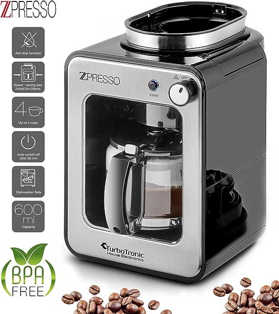 Cafetera con molinillo de café incorporado, de acero inoxidable, 4-6 tazas, café de filtro, 0,6 litros, placa calentadora, filtro permanente: Amazon.es: Hogar